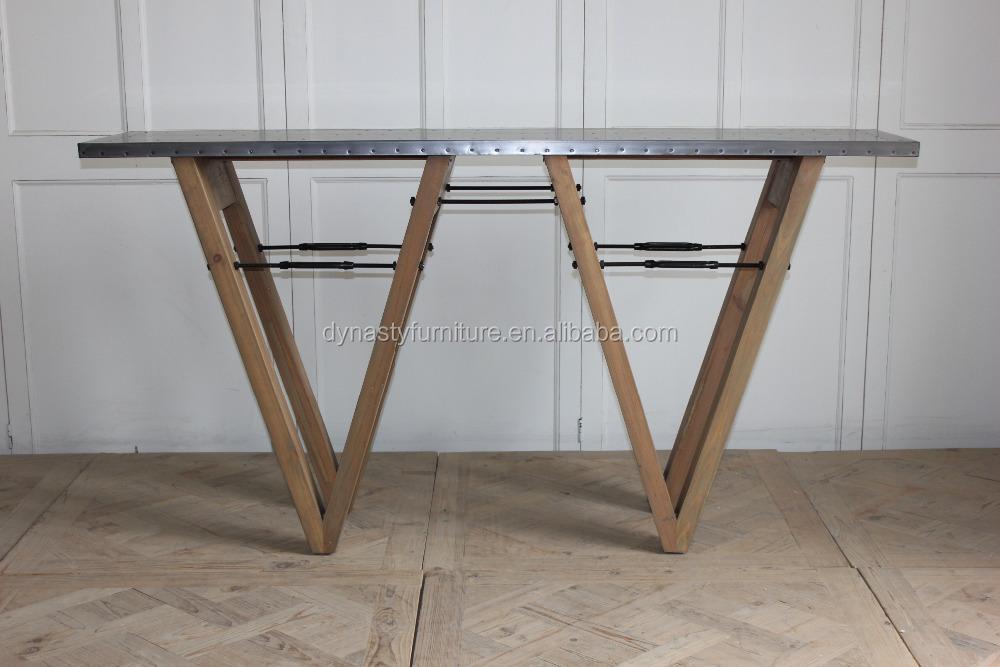 Vintage mobilier industriel console table avec dessus en for Recouvrir une table de zinc