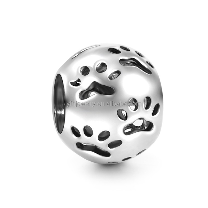 Genuine Silver Dog Lovers Charms Little Dog Paw Print Charms With Cheap Price