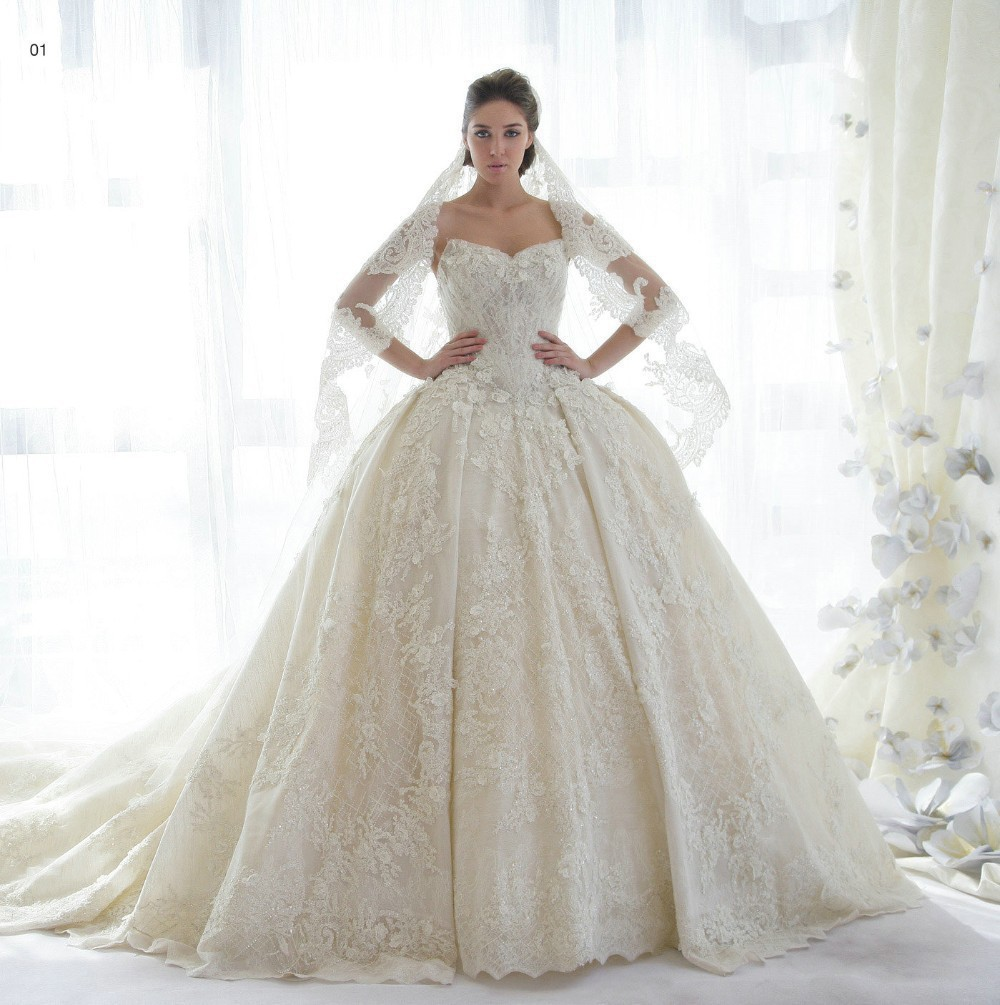 Romantic Ball Gown Lace Wedding dresses Sweetheart Vestido De Noiva Princesa Hochzeitskleder Robe De Mariage 2015 Bridal Gowns