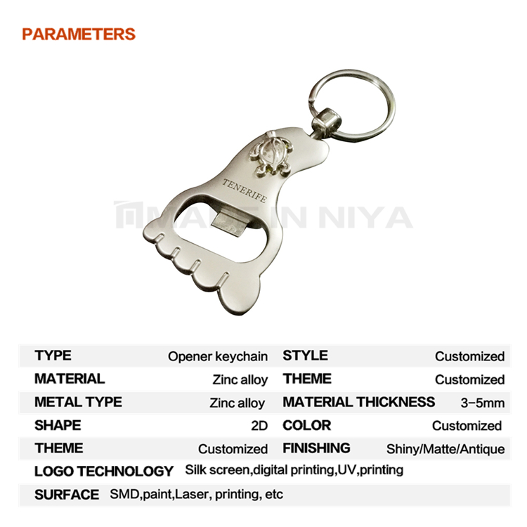 New Designs Unique Foot Shape Bottle Opener Connector Game Keychain With Link