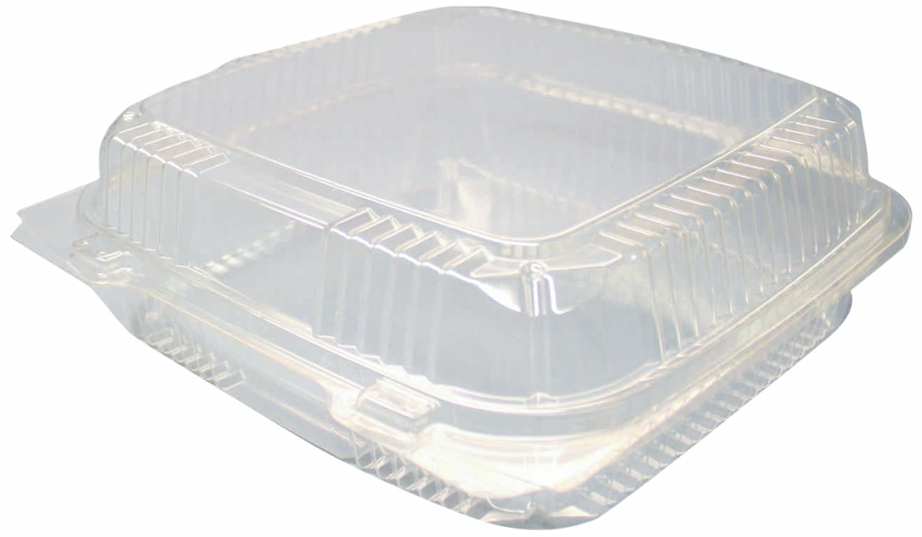 """Choice-Pac L1D-1115-clr Polyethylene Terephthalate Square Cold Clamshell Container, 8-3/8"""" Length x 8-1/4"""" Width x 3"""" Height, Clear (Case of 300)"""
