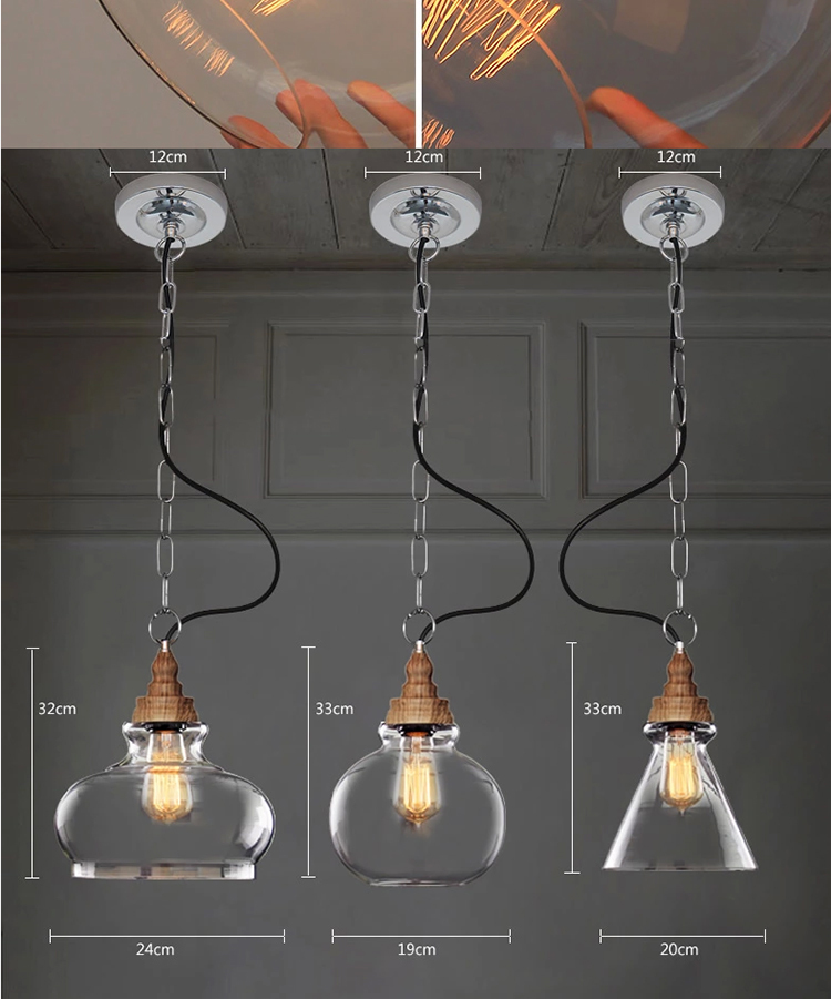 Antique Modern Edison Light Bulb Vintage Wood Loft E27 Glass ...