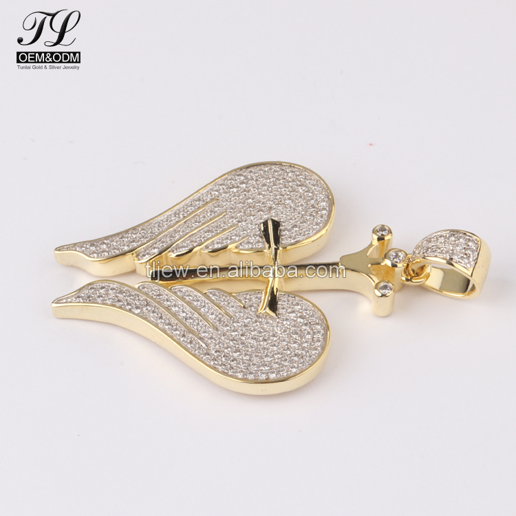 Bling cubic zirconia wing cross men's jewelry chains pendants,fashion jewellery bangkok