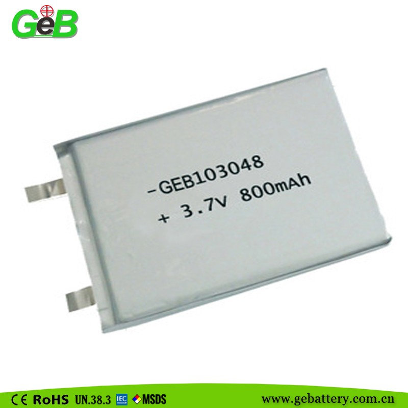 3.7v polymer li-ion battery cell 800mah 103048 recharge battery