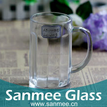 Vertical lines big clear glass mug machine made for drinking beer