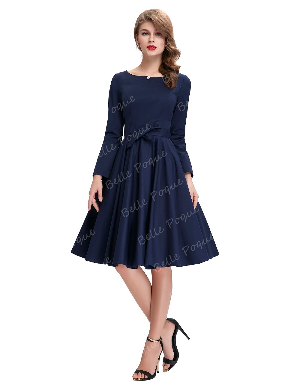 1744553c659da5 Belle Poque Stock Solid Color Long Sleeve Navy Blue casual vintage clothing  dress BP000192-2