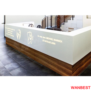 Custom Led Logo Acrylic Office Reception Counter Wood Salon Hotel Front Desk