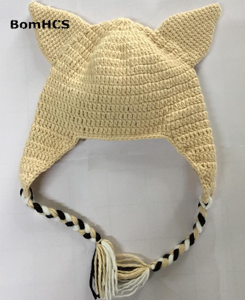 BomHCS Cute Dog Animal Handmade Knitted Hat Women's Winter Warm Cap Halloween Gift