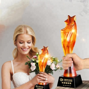 High-grade Exquisite Liuli Crystal Trophies and Awards with Laser logo