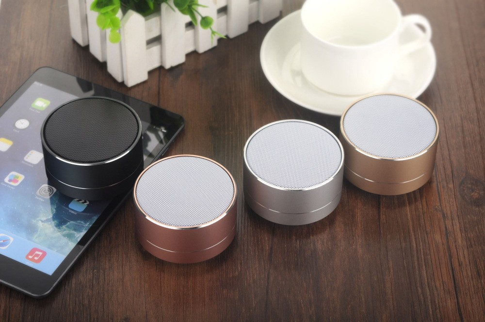 A10 music mini aluminum wireless portable Blue tooth speaker promotion with led light speaker