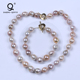 Wholesale 24K Gold Clasp Natural Freshwater Pearl Jewellery Necklace Sets,Wedding Jewelry Set