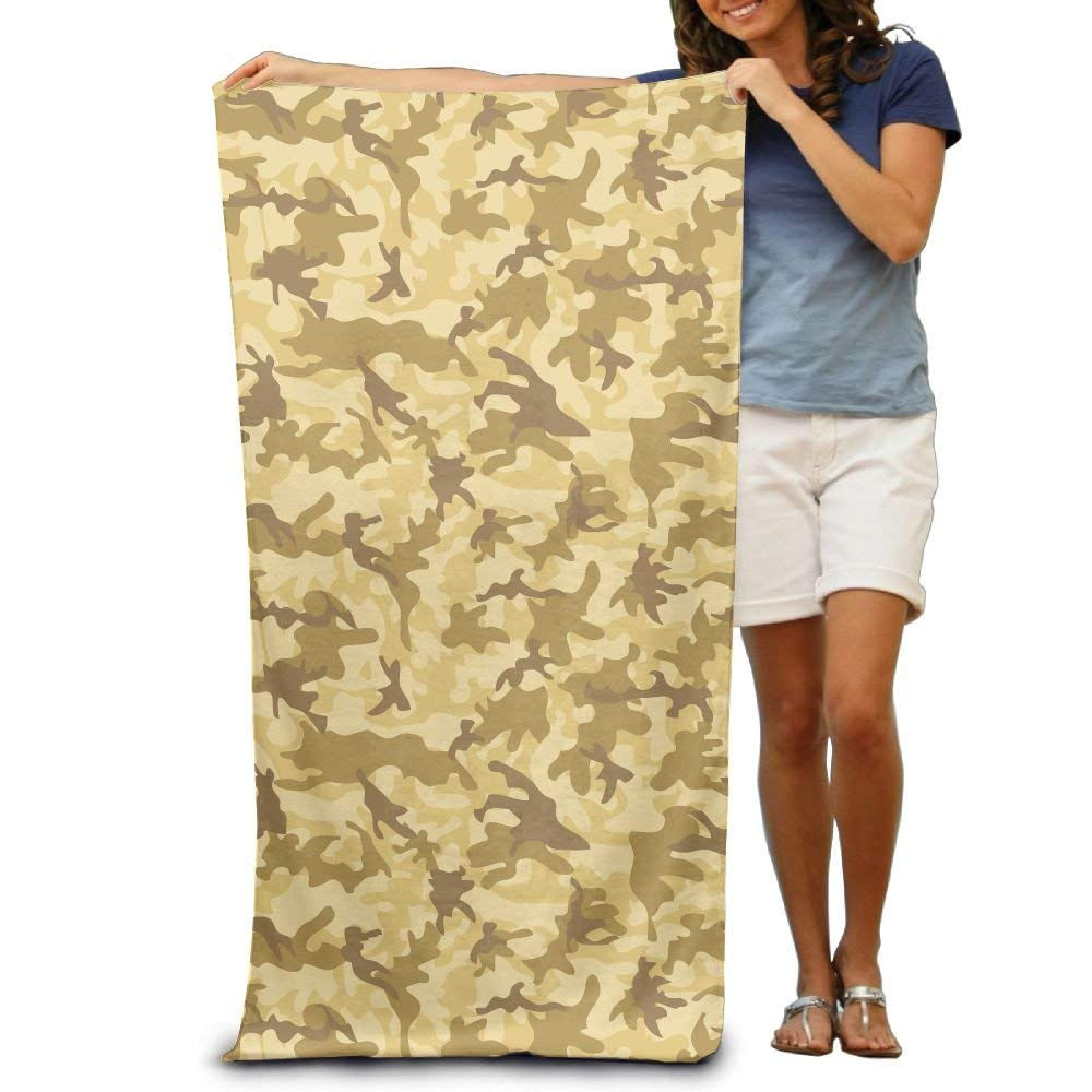 "Yisliferunaz Yellow Army Military Camo Print Beach Towels Luxurious 100% Polyester Camping Bath Sheets Large Towel For Beach Blanket Cover Tent Floor Yoga Mat 31.5"" X 51.2"",Natural Soft Quick Dry"