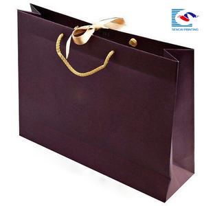 Luxury Printed large Shopping Paper Bags with Ribbon