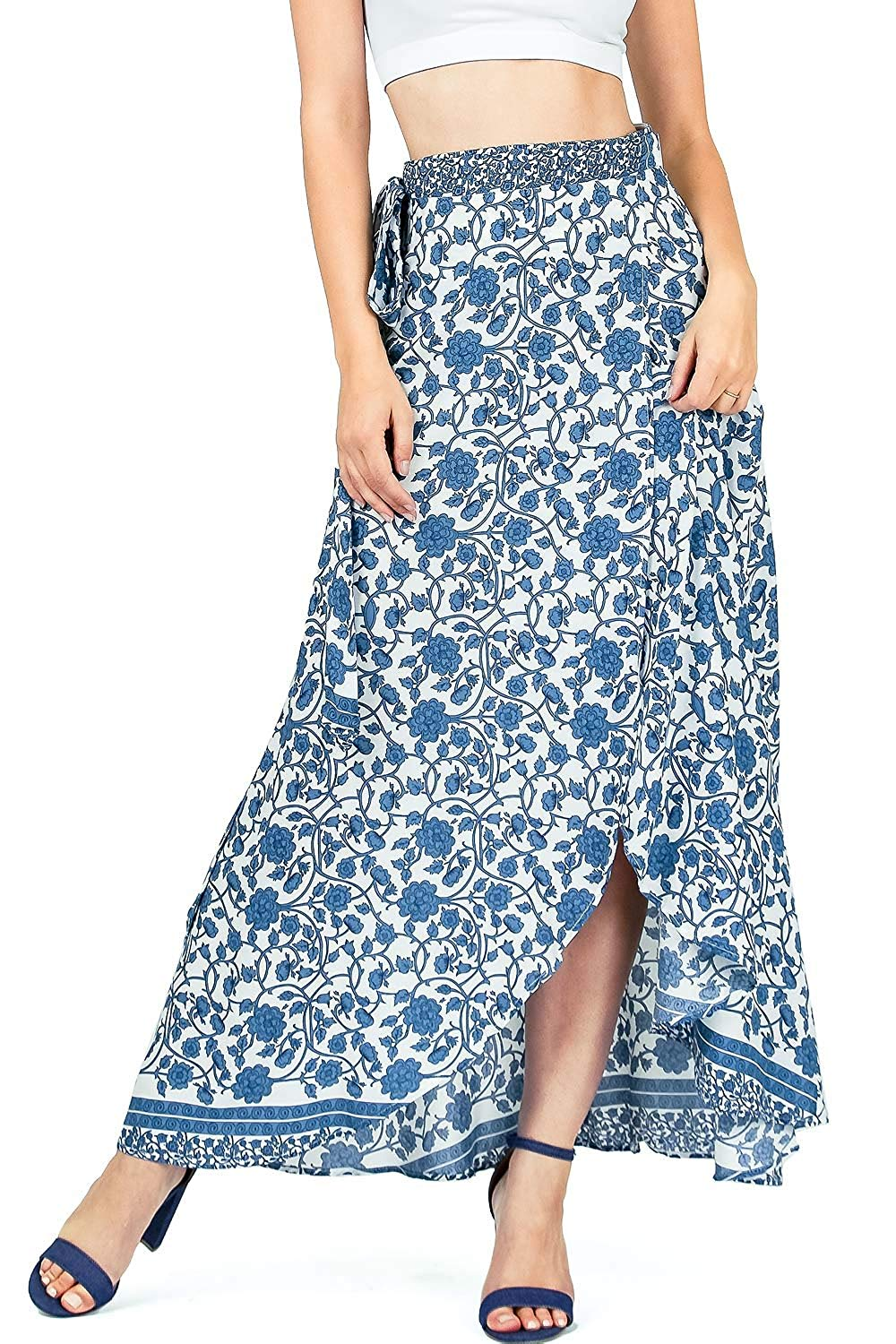 3118105511c Get Quotations · Aakaa Women s Juniors Wrap Style Floral Long Maxi Skirt