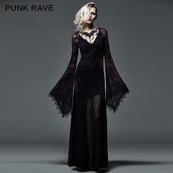 bb9159120feb Q-265 Sexy women long sleeve purple slinky long dress Gothic formal dresses