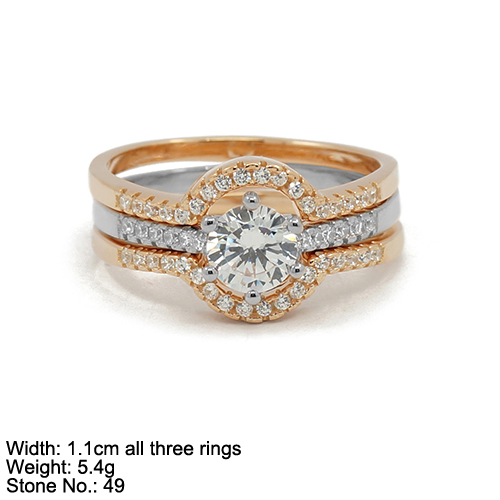 RZH-RA07 Wedding ring sets bridal ring sets 925 sterling silver ring sets with withe stone