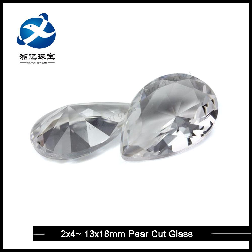Pear Shape Transparent Glass Bead / Clear Color Glass Teardrop Shaped Beads