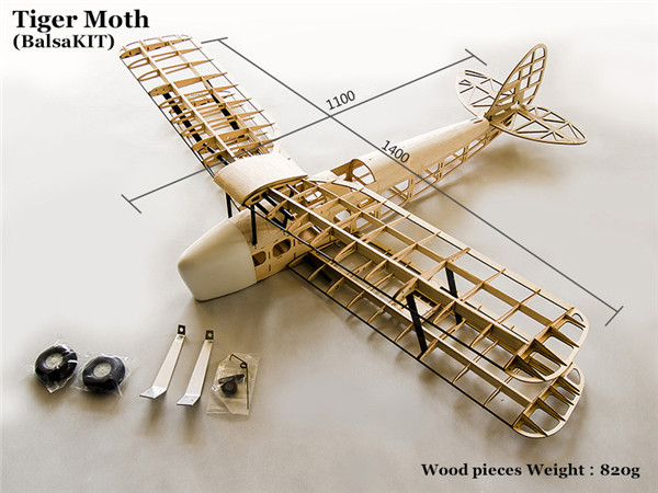 Balsa Wood RC Airplane <strong>Model</strong> 1.4m Tiger Moth Balsa Kit For Gas Power and Electric Power Only KIT Without Covering