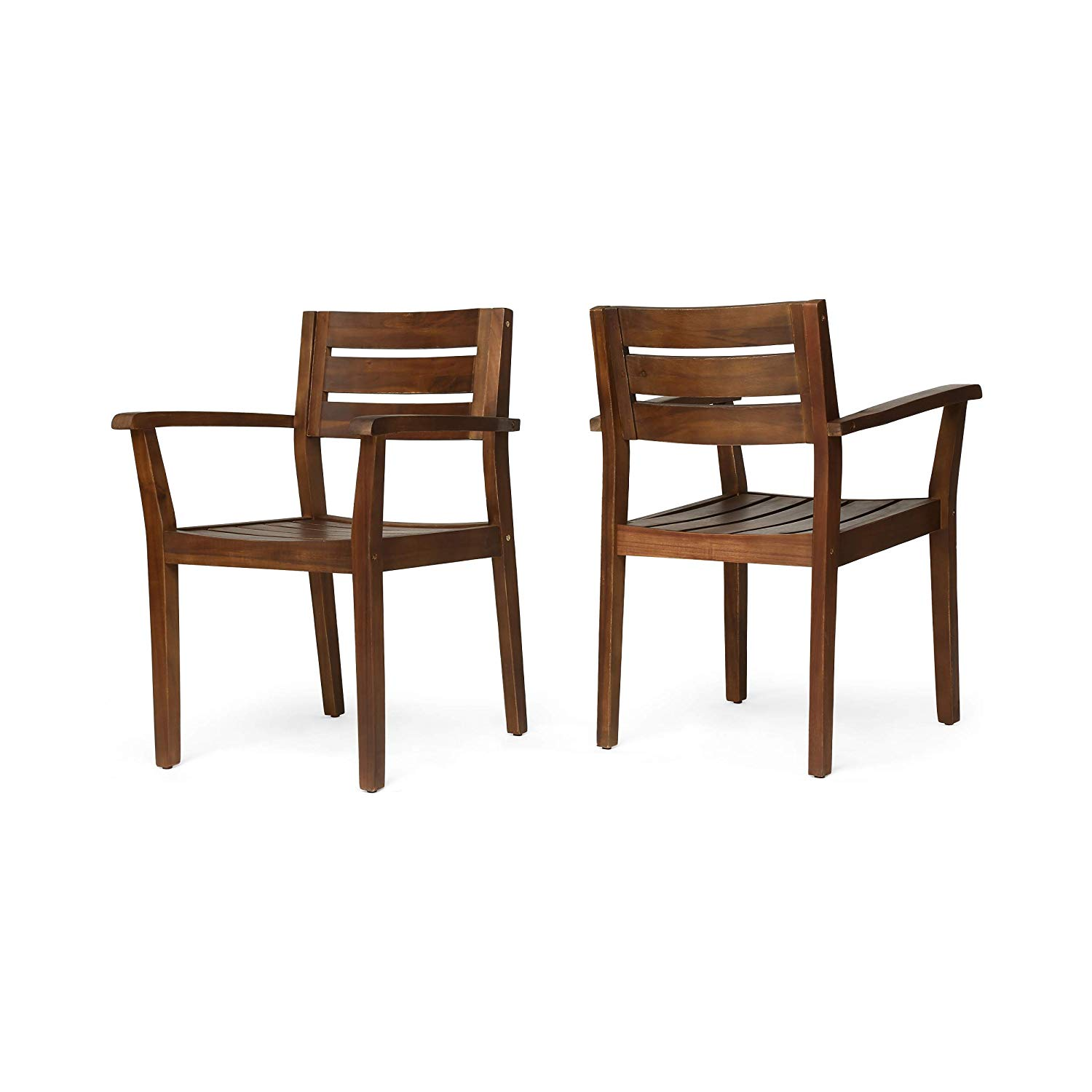 Get Quotations · Great Deal Furniture Stanford Outdoor Dining Chairs |  Acacia Wood | Dark Brown Finish | Set