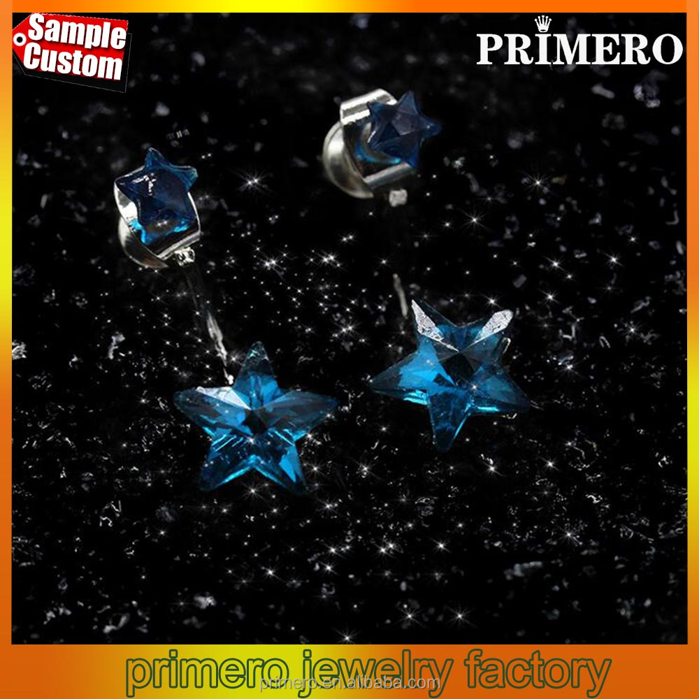 Shiny Rhinestone Star Stud Earrings Korean Elegant Fashion Jewelry Princess Accessories