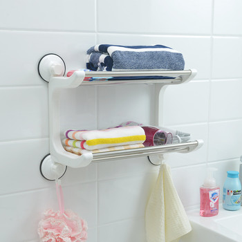 Bathroom Balcony 2 Tier Stainless Steel Towel Rack Kitchen Drying Rack