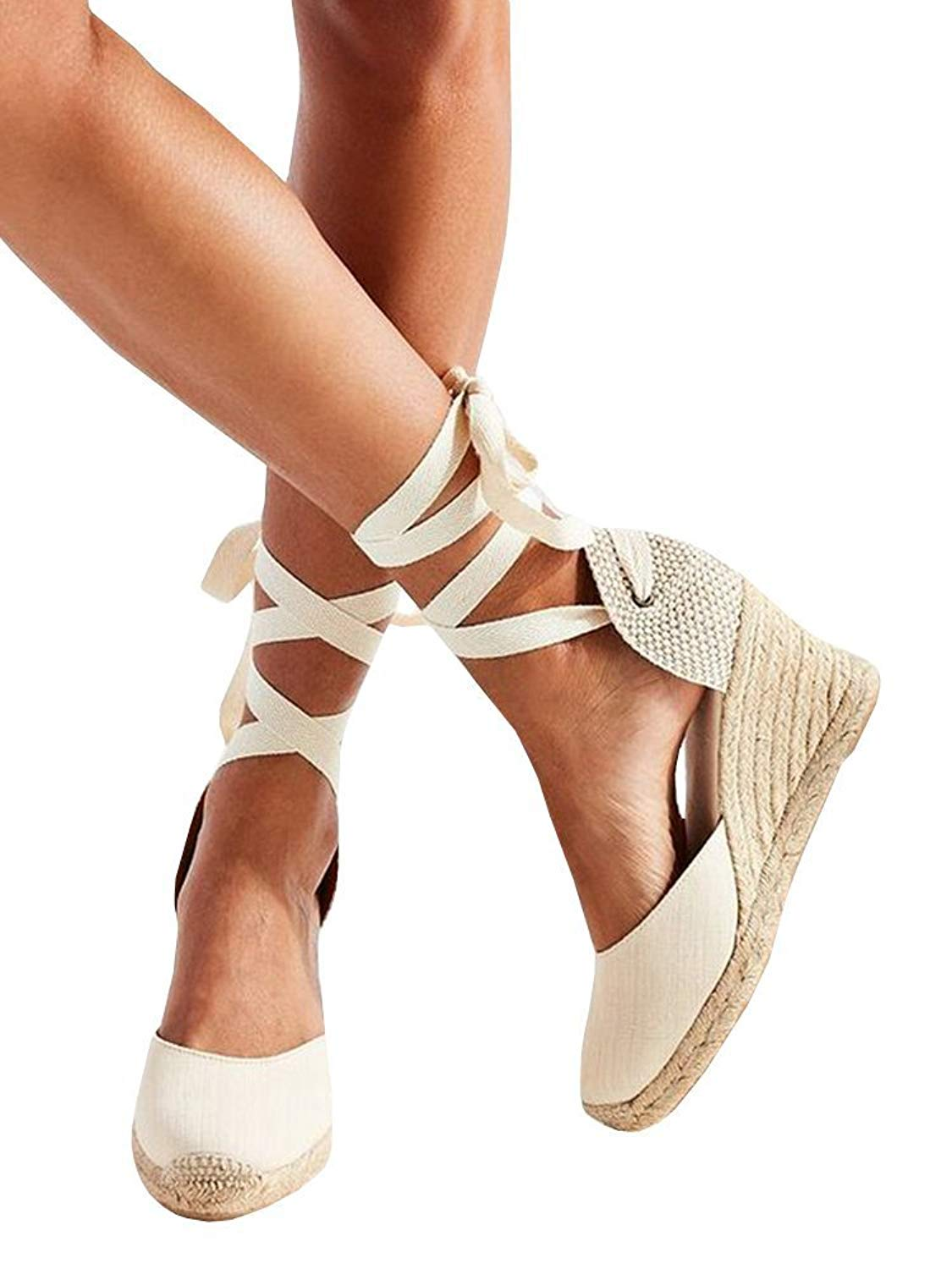 9353d08a64e8 Get Quotations · Syktkmx Womens Lace Up Platform Wedge Espadrille Heel  Closed Toe Slingback D Orsay Sandals