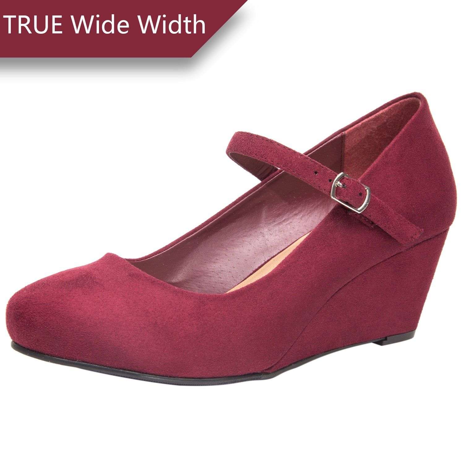 65dda2487075 Get Quotations · Luoika Women s Wide Width Wedge Shoes - Mary Jane Shoes w Ankle  Buckle Strap