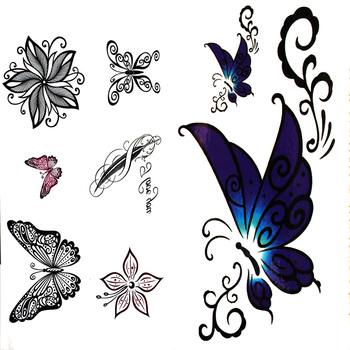 Henna Kupu Kupu Anti Air Palsu Blitz Tato Stiker 3d Mawar Bunga