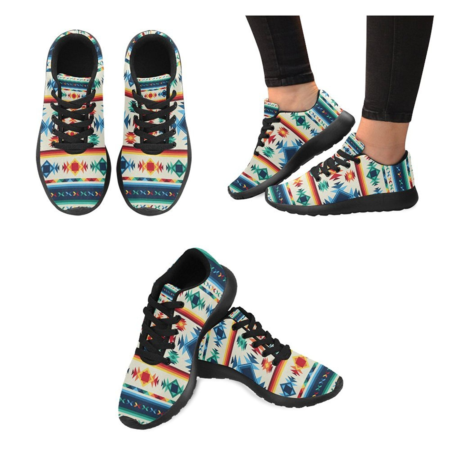 Womens high Heel Wedge Pumps Shoes Aztec Colorful Flowers Geometry Ethnic Pattern prin on