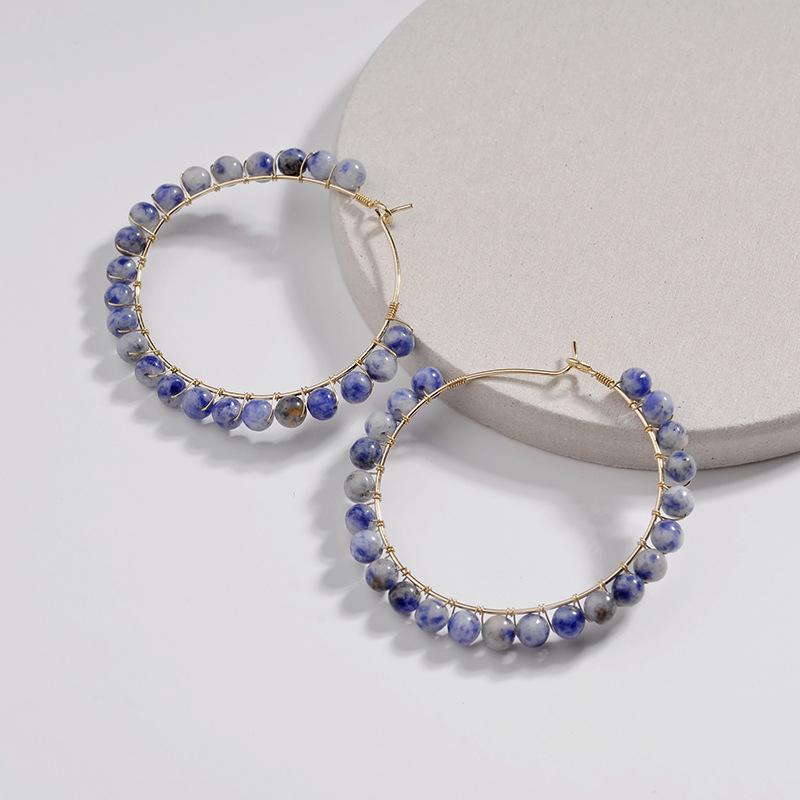 0af6ab1cd895 2019 Natural turquesa joyas de pendientes de la piedra de lapislázuli  pendientes de aro para las