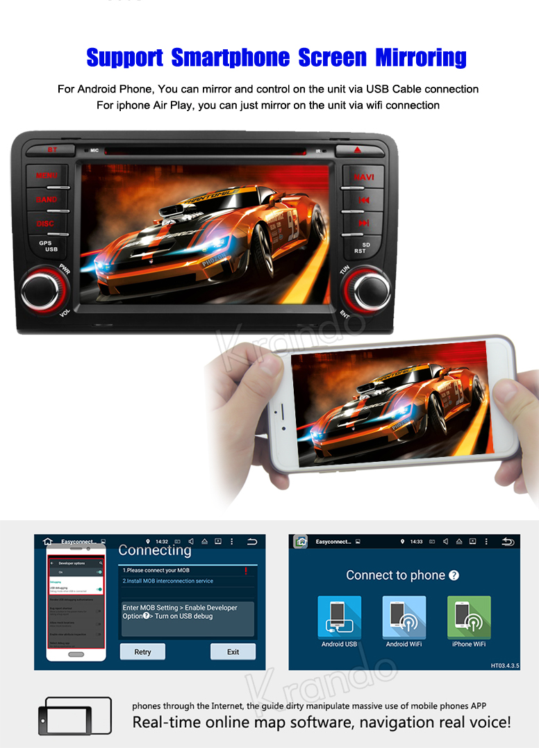 for audi a3 android car player
