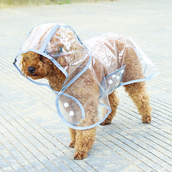 Fashion Reflective Pet Dog Raincoat with Hood Poncho, Eco Waterproof Puppy Jacket Pet Rain-Gear Clothes for Small Dogs/Cats