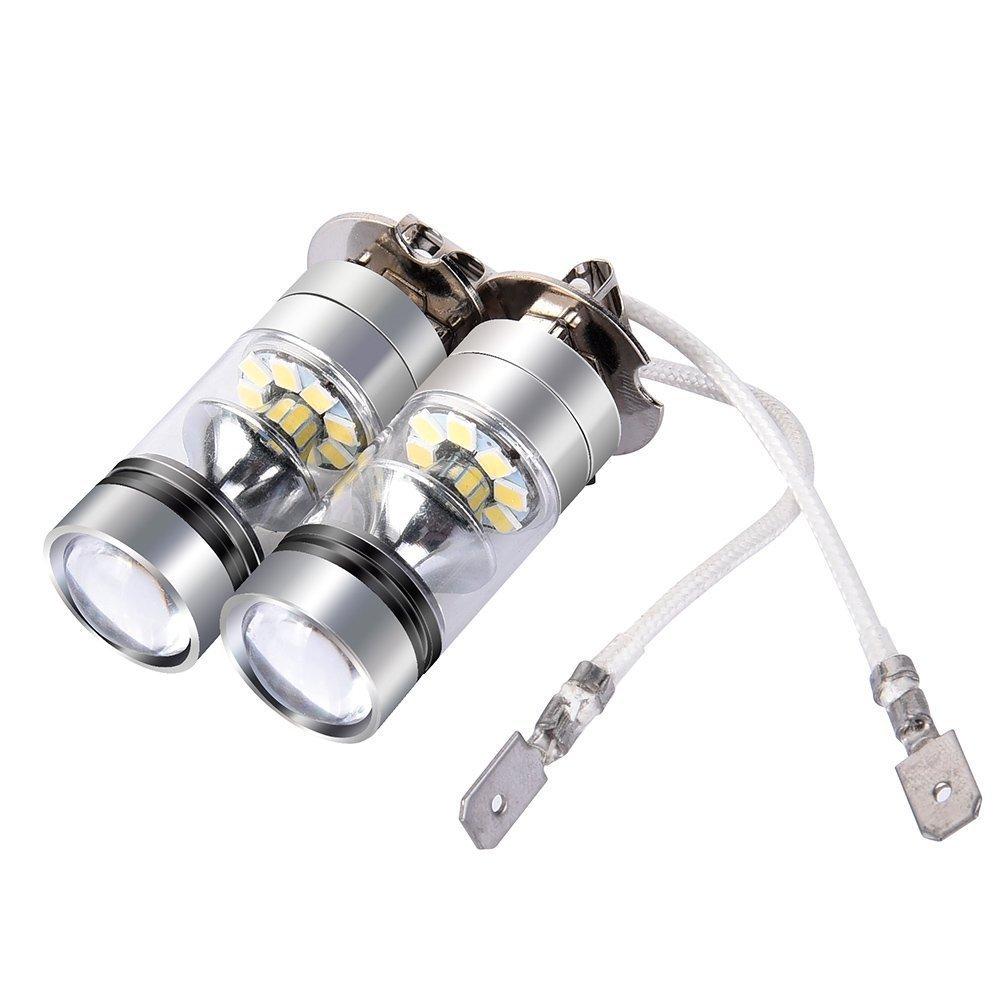 2 Pcs Fog Lights,Super Extremely Bright LED Fog Light Bulbs H3 White 6000K High Power 100W Auto Fog Light Bulb Replacement 2323 SMD LED Bulbs for Fog light DRL 1800LM
