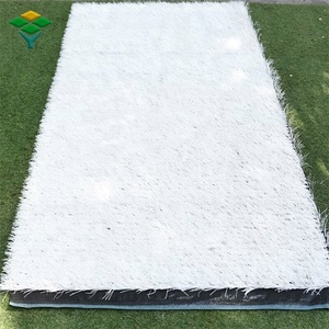 Decorative synthetic plastic white artificial grass ski