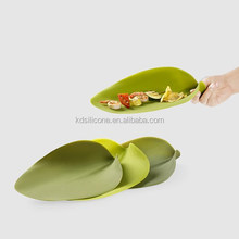 Cool design silicone new products,leaf shape silicone plate,created silicone dinner plate