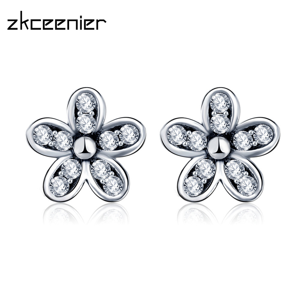 8acffe8f1 Fashion Silver/Gold Sparkling Bow Charm Brand Earrings With Clear CZ Stud  Earrings For Woman Wedding Jewelry Gifts Copper