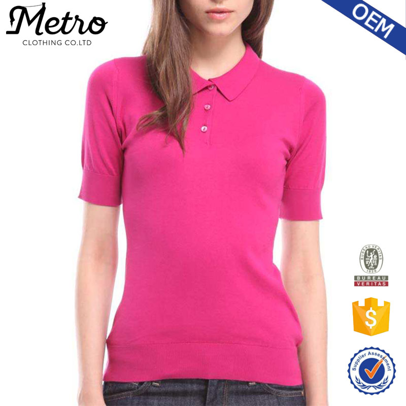 2016 custom design Pink polo shirt women with cotton