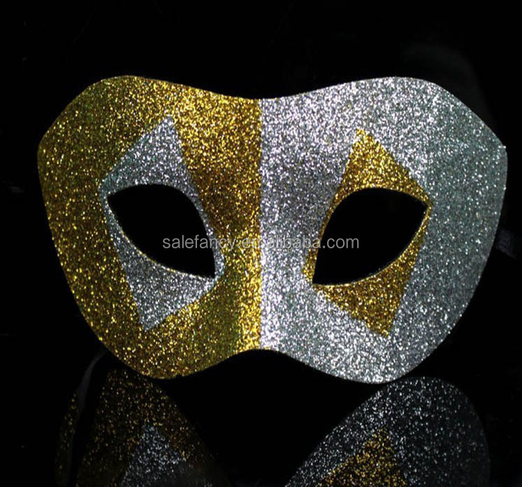Gold silver geometric symmetry halloween party masquerade mask QMAK-1569