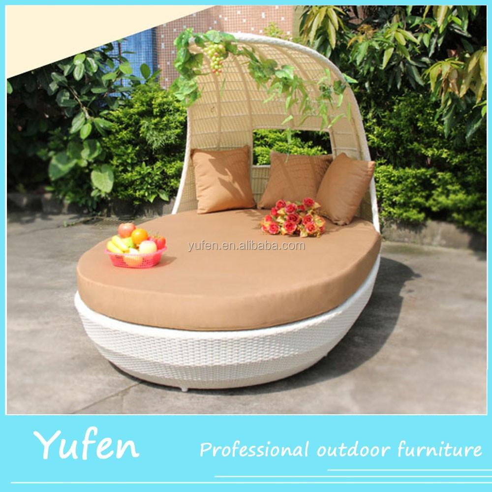 Schule Möbel Rattan Runde Outdoor Lounge Bett Mit Baldachin Für Kinder
