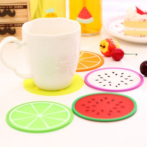 Fruit Design Cup Mat Table Placemat Silicone Rubber Coaster , Custom 2D soft pvc rubber customized coasters