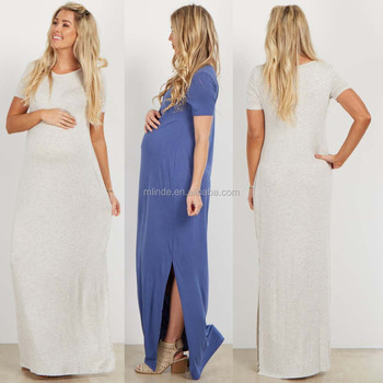 b4c92be41f583 Korean Style Maternity Dress Short Sleeve O Neck Basic Side Slit Maternity  Maxi Dress Vestidos De
