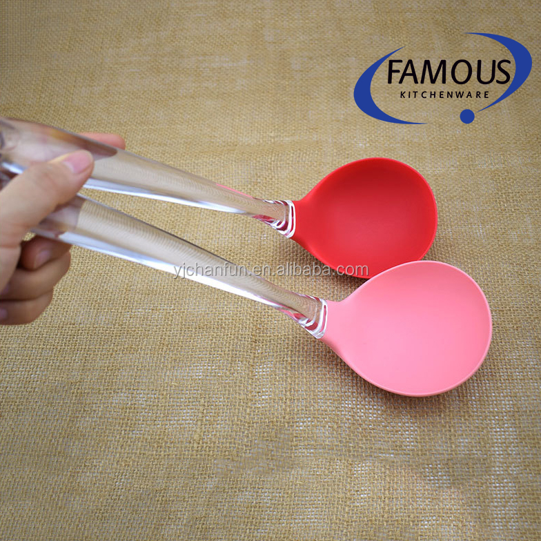 kitchen utensil tool factory price silicone long ladle with pp handle