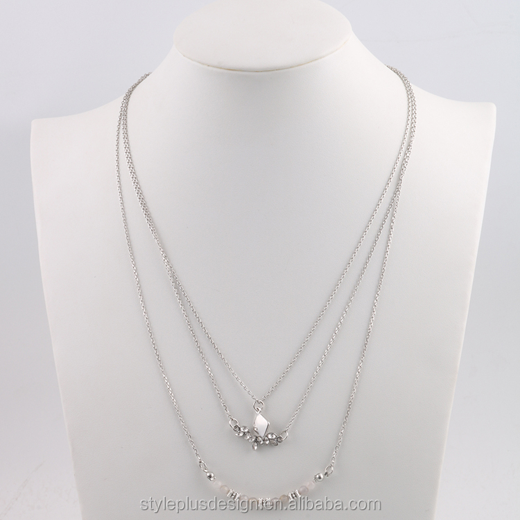 N76895K02 Big Three Layer Silver Necklace Choker Parts Names