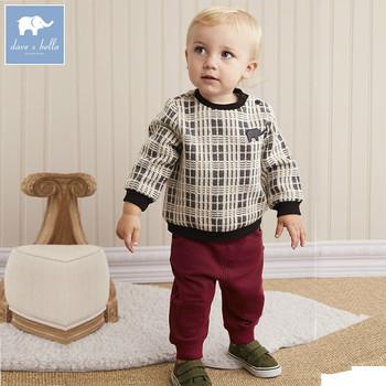 d57621b45b4c2 DB5596 dave bella autumn infant boys fashion clothing sets baby plaid suit  children suit high toddler