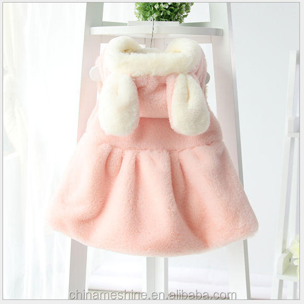M62050A wholesale latest fashion winter bunny ear waistcoat children dress