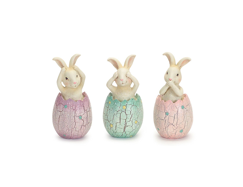Hear See Speak No Evil Bunny Rabbits in Pastel Eggs