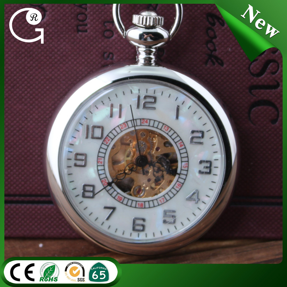 Mens Arabic Numbers Modern hand wind mechanical Pocket Watch