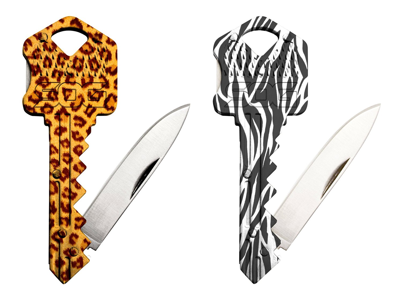 SOG Specialty Knives & Tools KIT00045 Jungle Bundle (Key Knife Combo-Zebra & Cheetah)