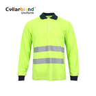Hi Vis safety quick dry fluorescent yellow long sleeve reflective polo t shirt for security uniform