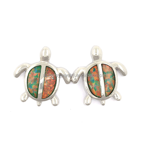 fashion jewelry 925 sterling silver wholesale rhodium plated statement ear ring turtle fire opal stud earrings for mens